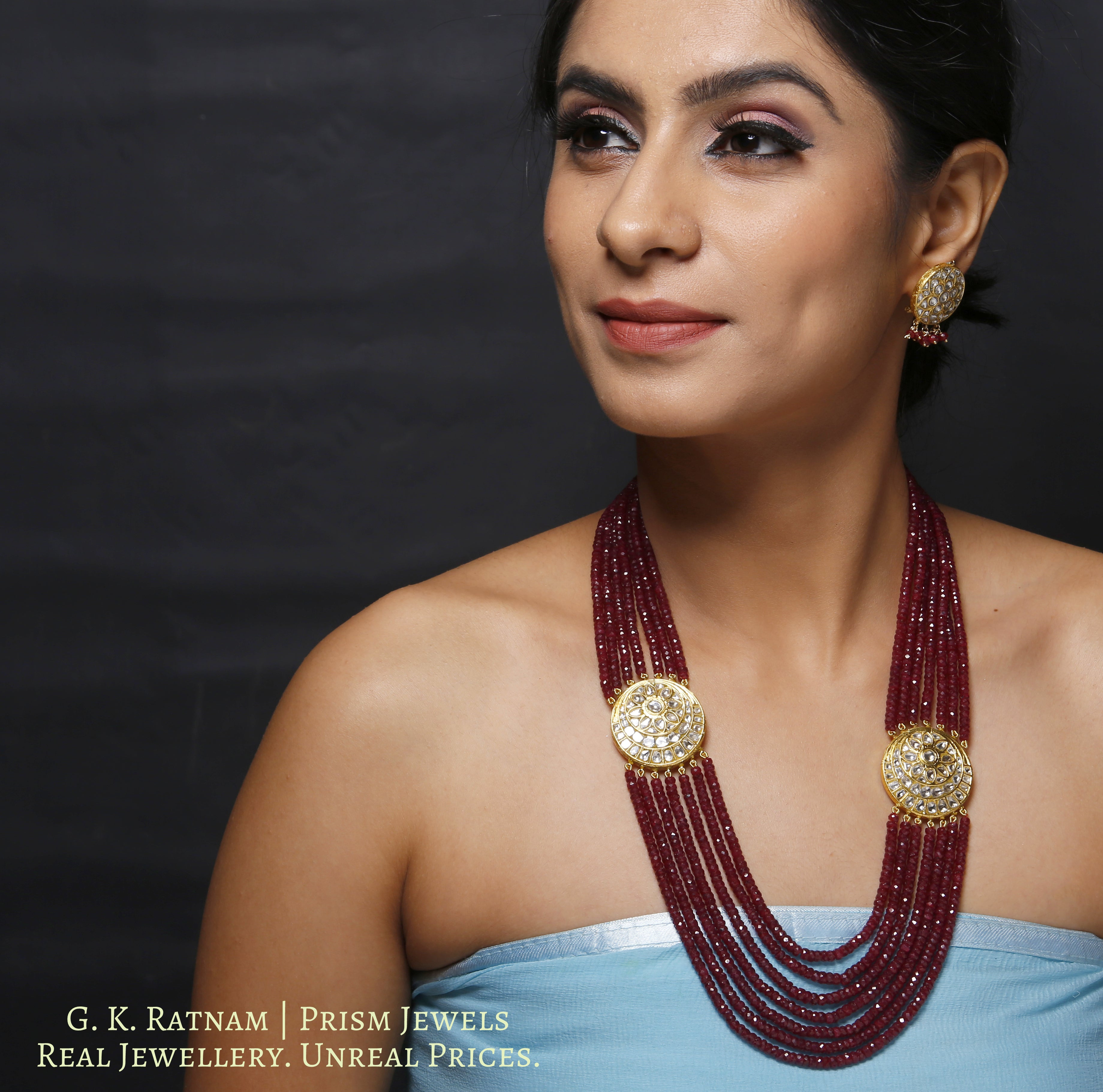 23k Gold and Diamond Polki Broach Necklace Set with Ruby cut beads - gold diamond polki kundan meena jadau jewellery