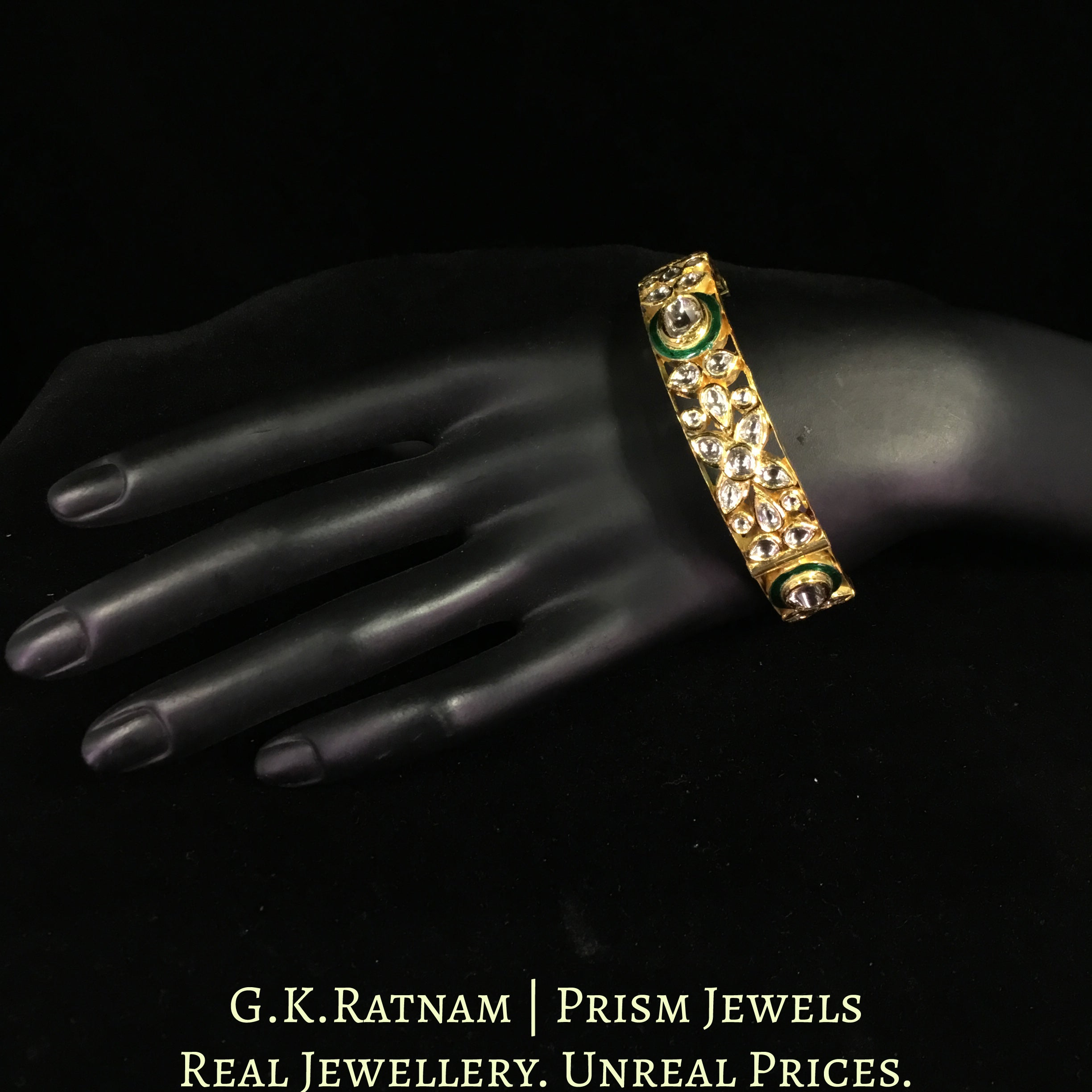 18k Gold and Diamond Polki Bangle with Green Meenakari and Floral Motifs