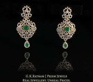 14k Gold and Diamond Long Earring Pair With Emerald-Green Stones