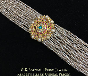 18k Gold and Diamond Polki south-style Choker Necklace With Antiqued Hyderabadi Pearls