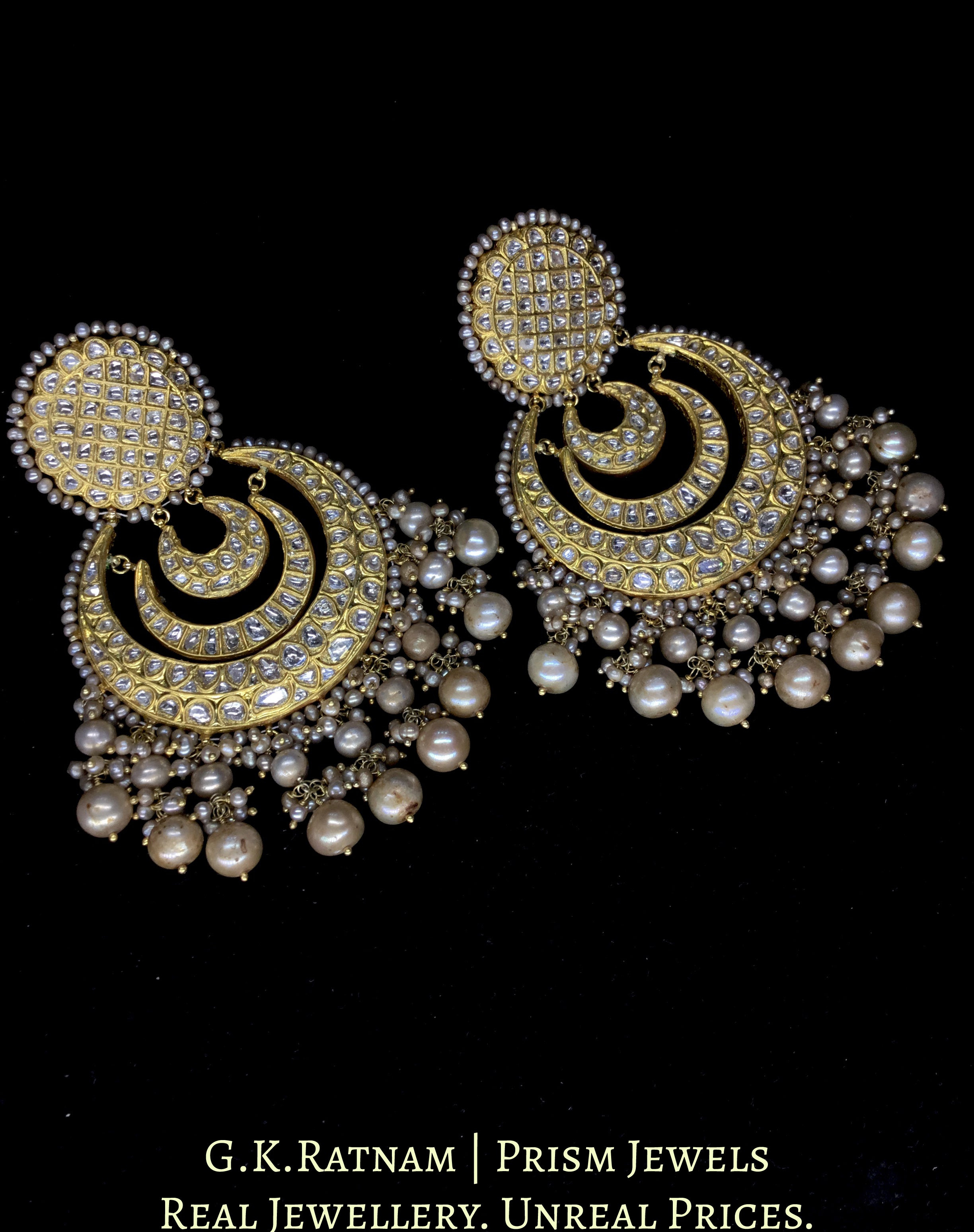 23k Gold and Diamond Polki multi-tier Chand Bali Earring Pair with Antiqued Hyderabadi Pearls