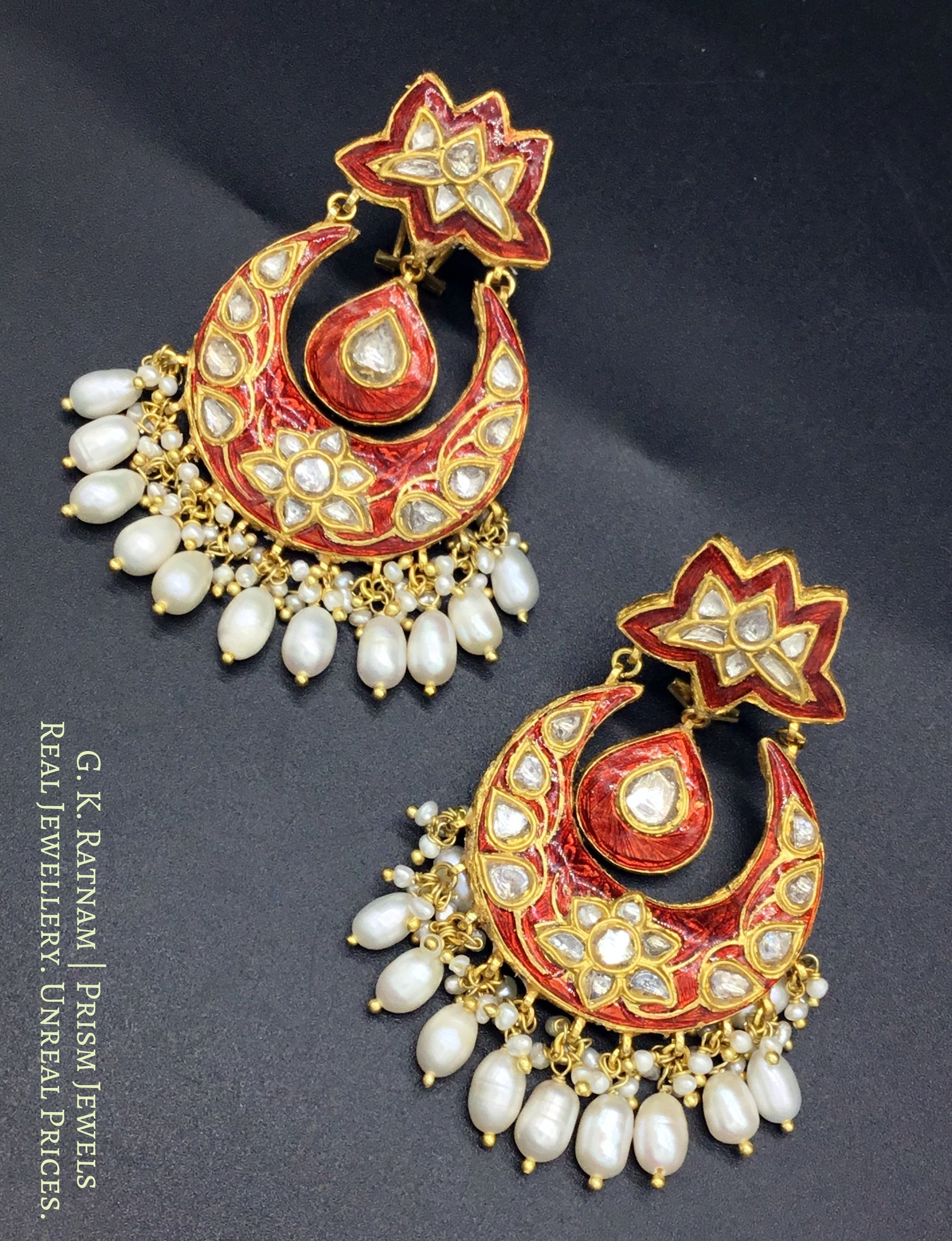 23k Gold and Diamond Polki Chand Bali Earring Pair with red meenakari - gold diamond polki kundan meena jadau jewellery