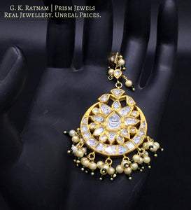 18k Gold and Diamond Polki big Maang Tika enhanced with pearls and a hint of green - gold diamond polki kundan meena jadau jewellery