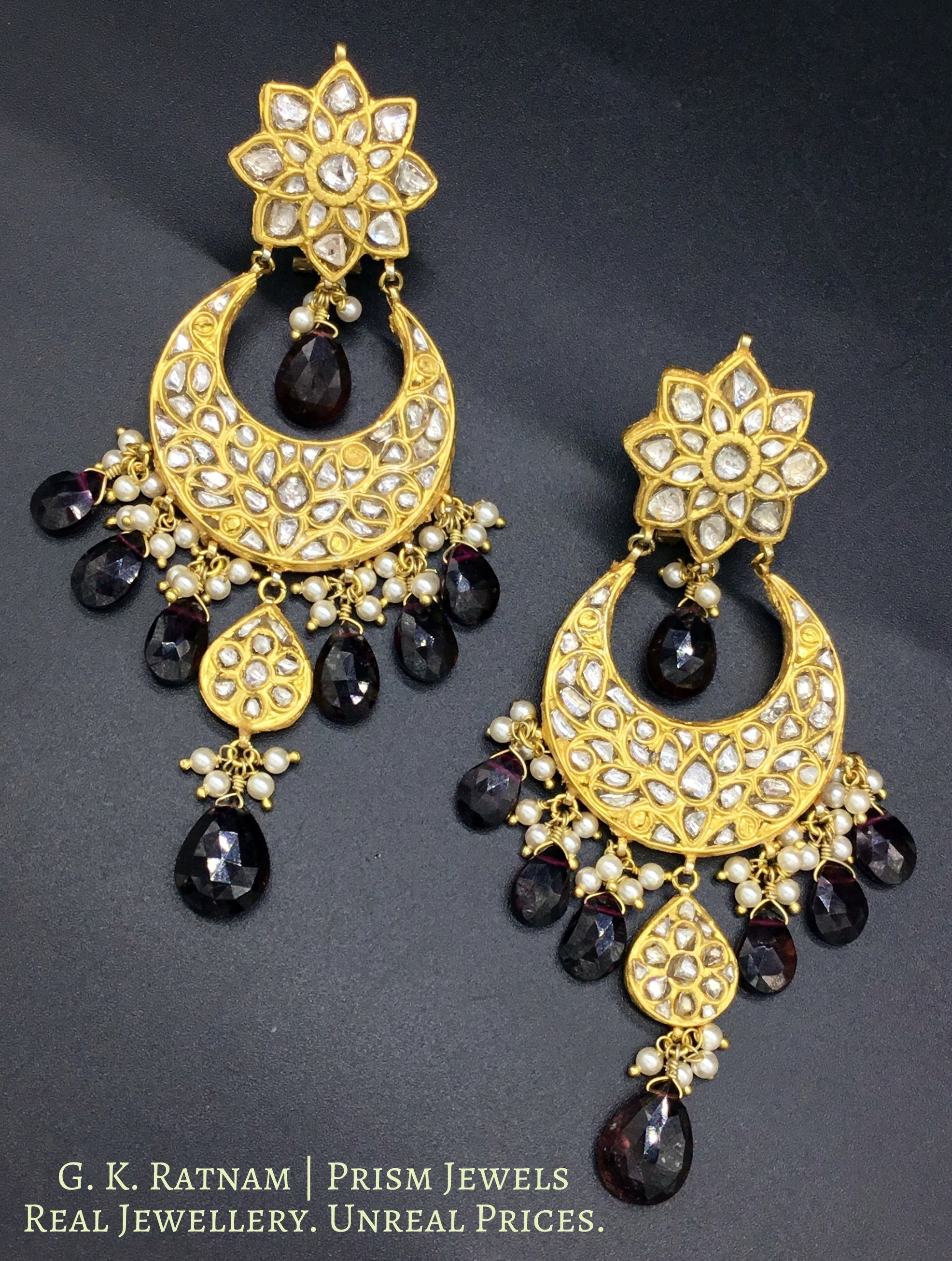 23k Gold and Diamond Polki Chand Bali Earring Pair with Mozambique Garnets - gold diamond polki kundan meena jadau jewellery