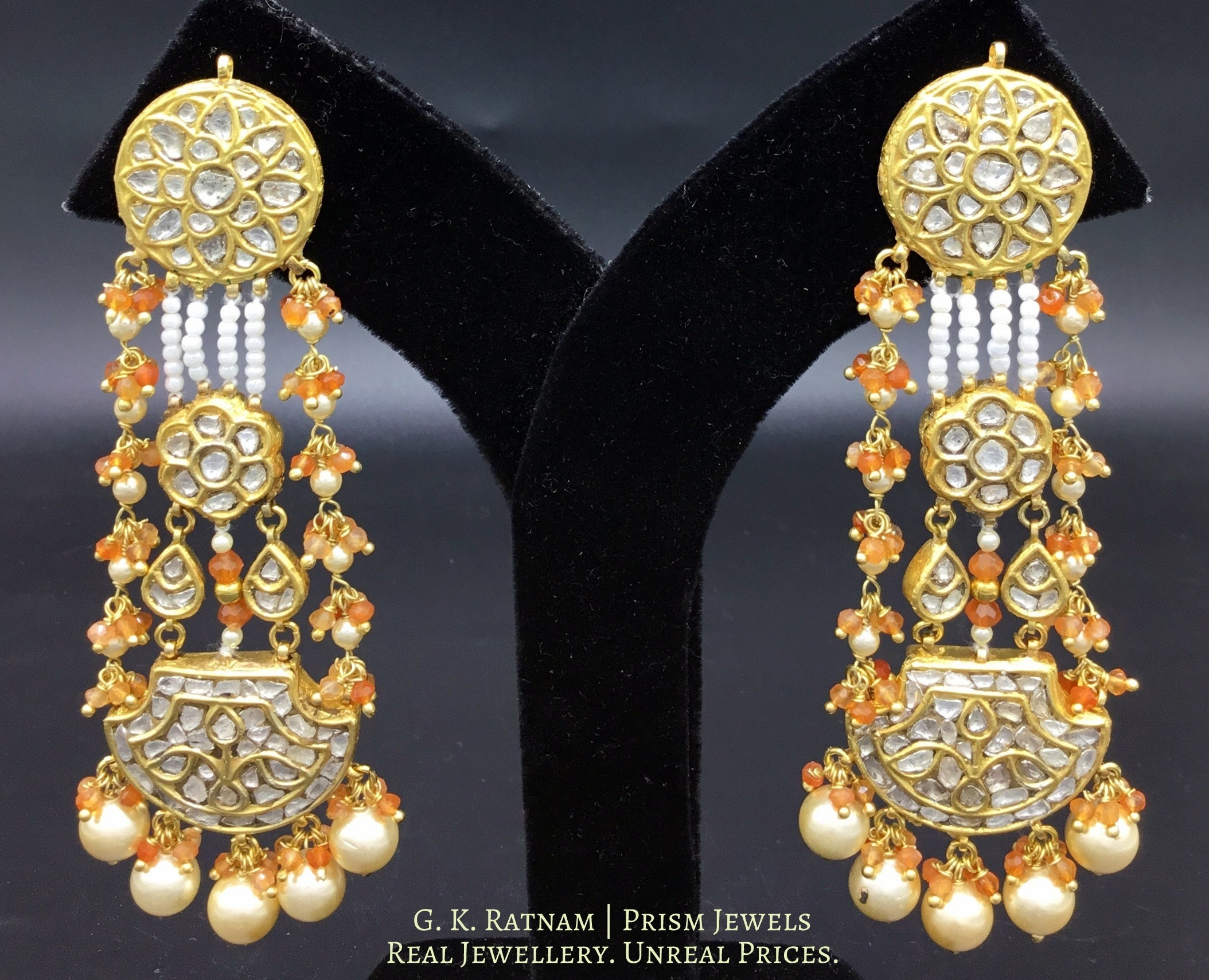 23k Gold and Diamond Polki pankhi (fan) Long Earring Pair with orange carnelians and natural freshwater pearls - gold diamond polki kundan meena jadau jewellery