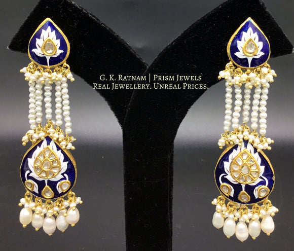 Long Earring - gold diamond polki kundan meena jewellery