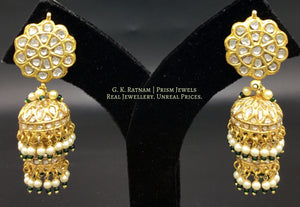 23k Gold and Diamond Polki two-tier Jhumki Earring Pair with pearls and a hint of green - gold diamond polki kundan meena jadau jewellery