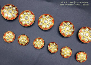 23k Gold and Diamond Polki red enamel Sherwani Buttons for Men - gold diamond polki kundan meena jadau jewellery