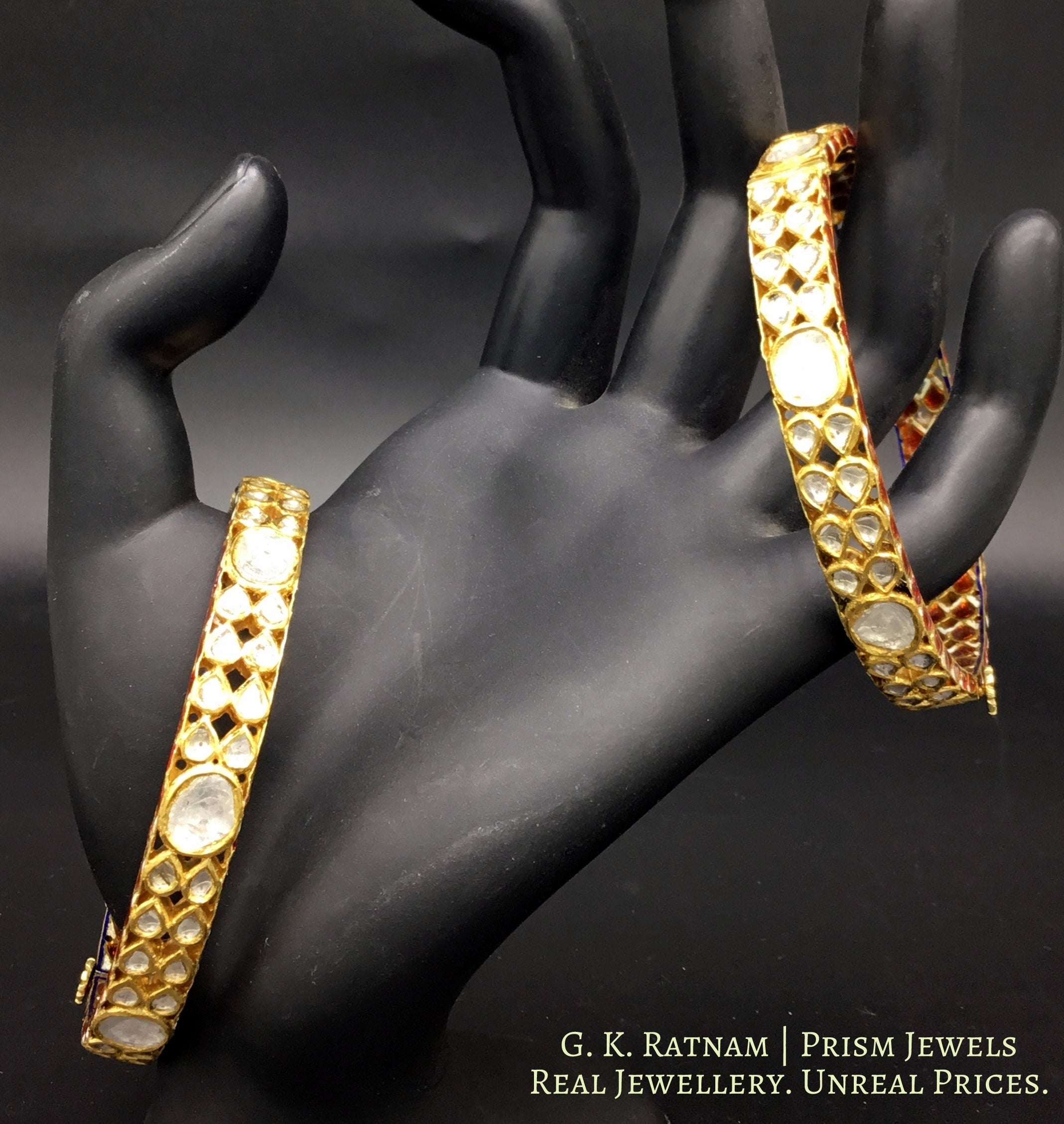 18k Gold and Diamond Polki Chudi Pair - gold diamond polki kundan meena jadau jewellery