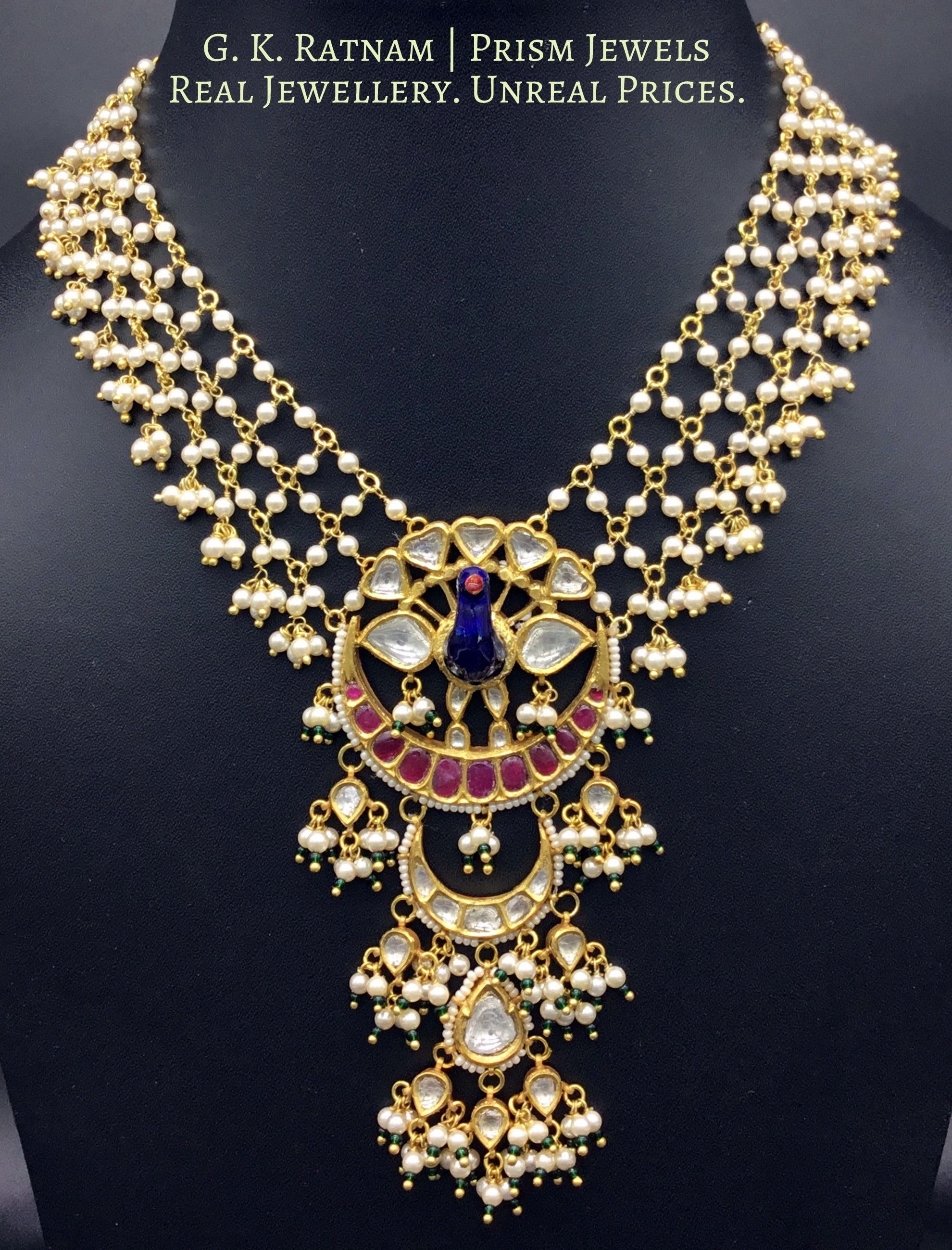 22k Gold and Diamond Polki Peacock Pendant with lustrous pearls strung in a mesh - gold diamond polki kundan meena jadau jewellery