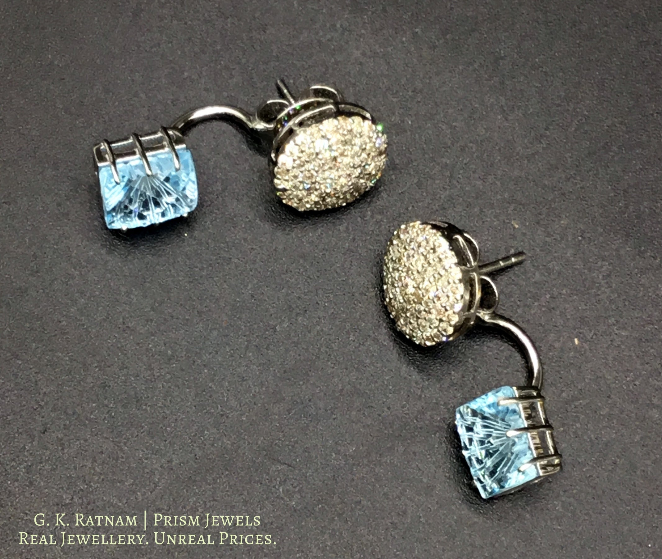 14k Gold and Diamond Tops / Studs Earring Pair with aquamarine-blue stones - gold diamond polki kundan meena jadau jewellery