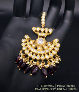 18k Gold and Diamond Polki pankhi (fan) Maang Tika with Natural Mozambique Garnets - gold diamond polki kundan meena jadau jewellery