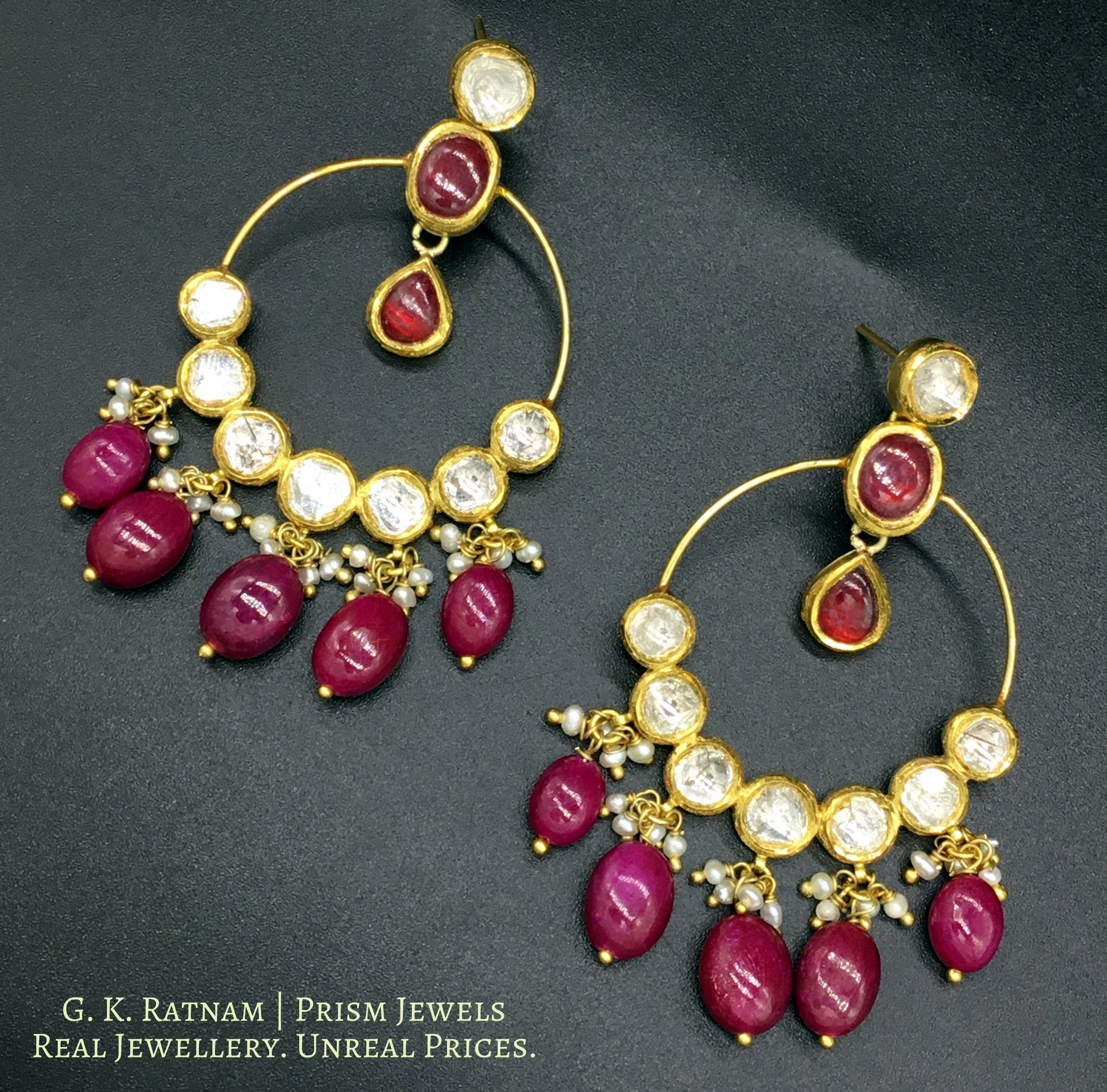 18k Gold and Diamond Polki hoop-style Chand Bali Earring pair with rubies - gold diamond polki kundan meena jadau jewellery