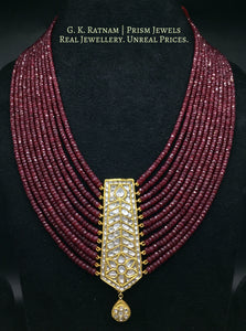23k Gold and Diamond Polki tie-shaped Pendant with Natural Rubies - gold diamond polki kundan meena jadau jewellery