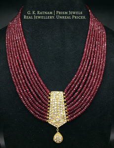 23k Gold and Diamond Polki small tie-shaped Pendant with Natural Rubies - gold diamond polki kundan meena jadau jewellery