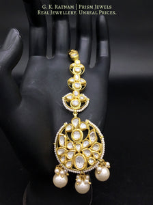 18k Gold and Diamond Polki Maang Tika with elaborate attachments - gold diamond polki kundan meena jadau jewellery