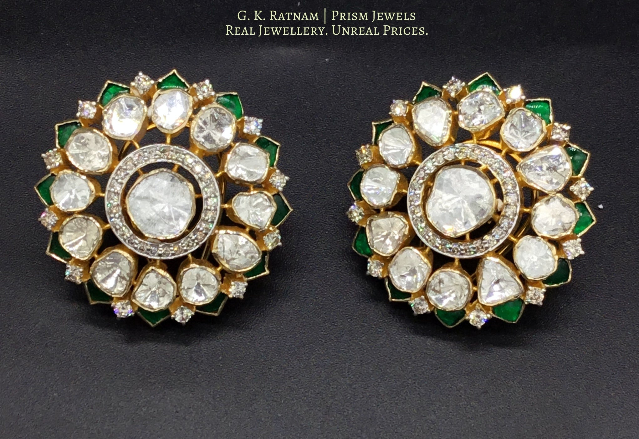 14k Gold and Diamond Polki Open Setting Karanphool Earring Pair with emerald-grade green stones - gold diamond polki kundan meena jadau jewellery