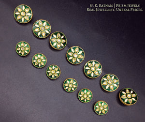 23k Gold and Diamond Polki green enamel Sherwani Buttons for Men - gold diamond polki kundan meena jadau jewellery