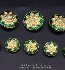23k Gold and Diamond Polki green meena Sherwani Buttons for Men - gold diamond polki kundan meena jadau jewellery