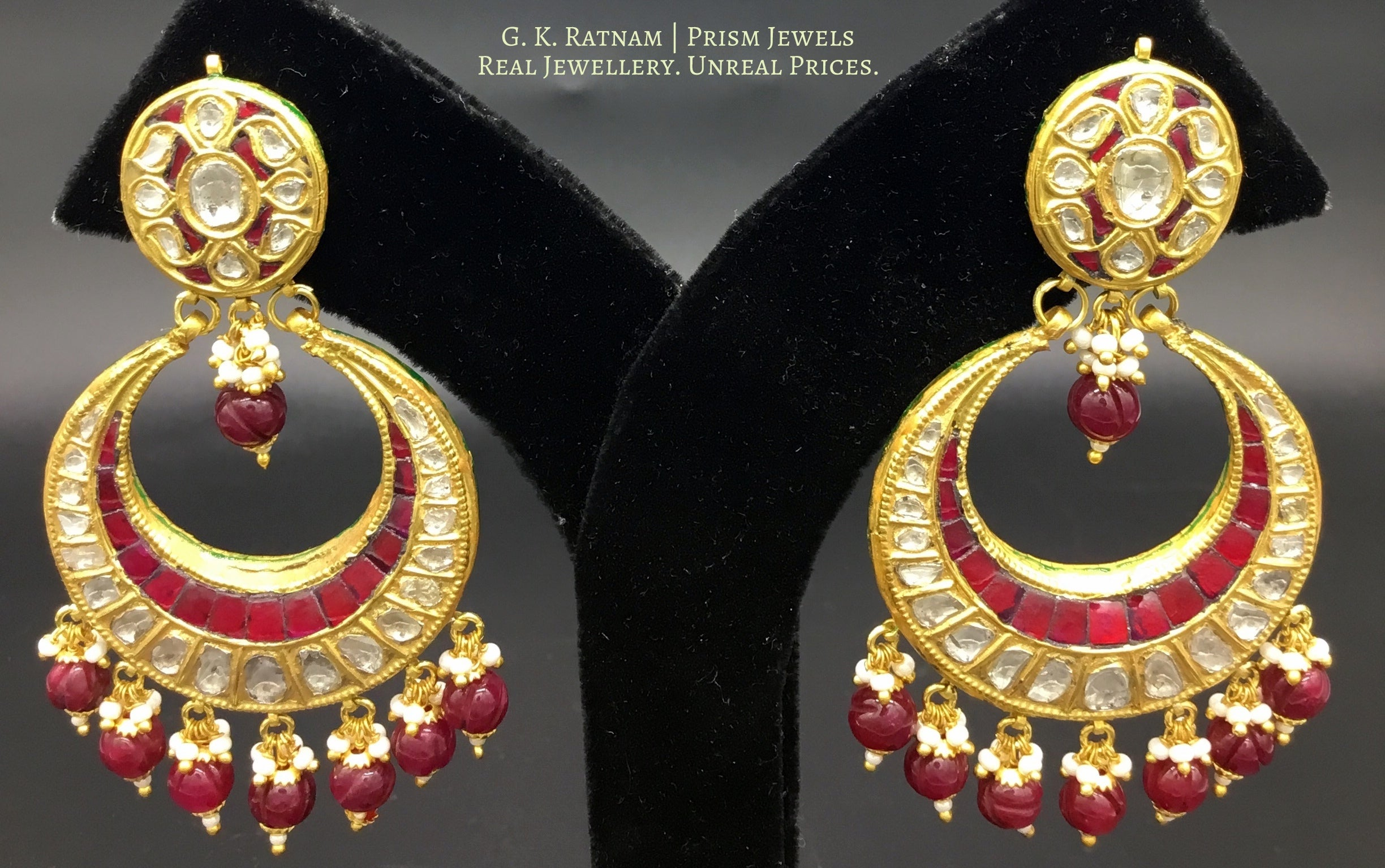 23k Gold and Diamond Polki Chand Bali Earring pair with round ruby-red beads - gold diamond polki kundan meena jadau jewellery