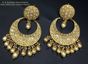 23k Gold and Diamond Polki broad Chand Bali Earring pair with honeycomb-like uncut pattern - gold diamond polki kundan meena jadau jewellery
