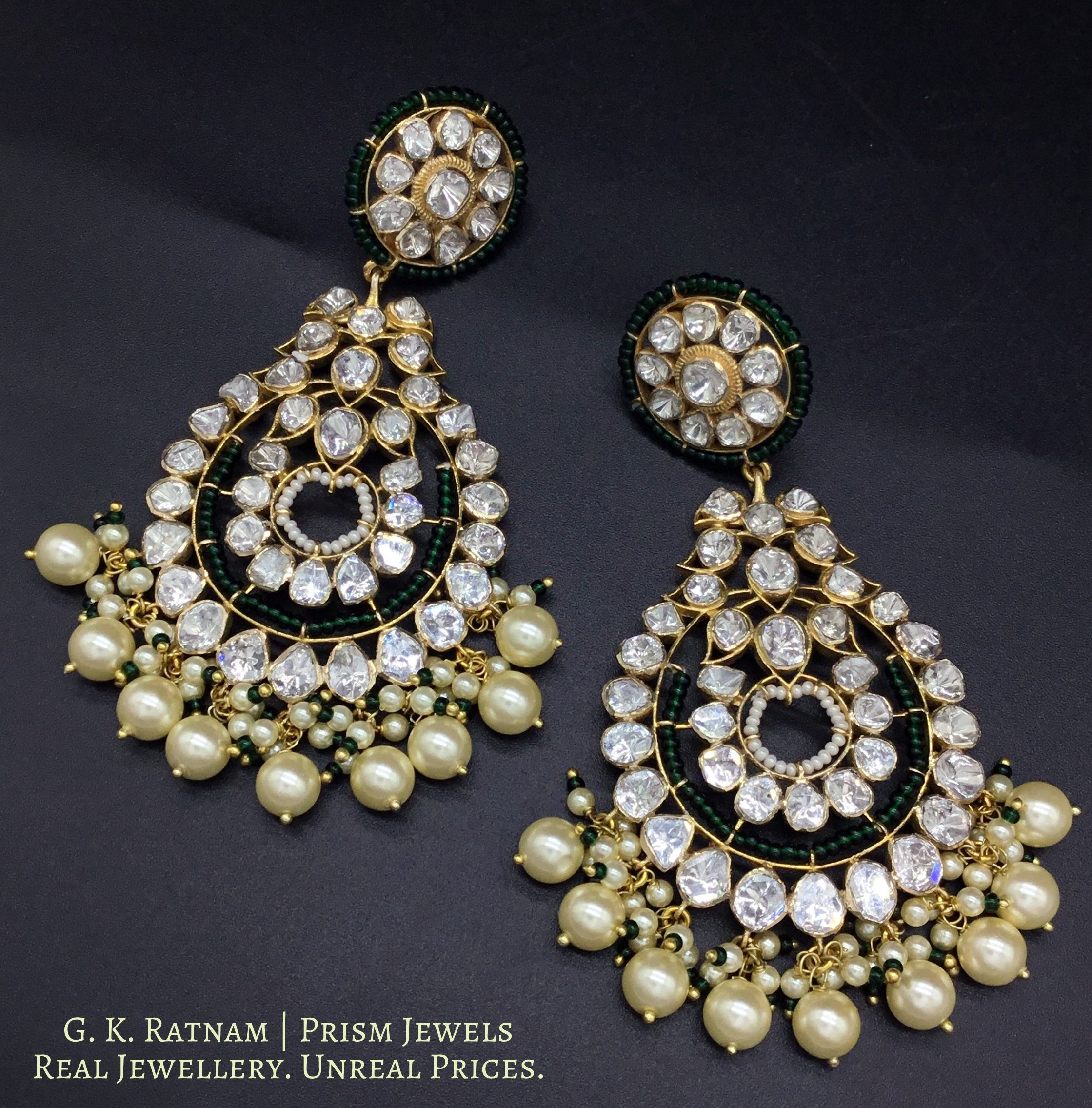 14k Gold and Diamond Polki Open Setting Chand Bali Earring pair with triple-coated shell pearls and a touch of dark green - gold diamond polki kundan meena jadau jewellery