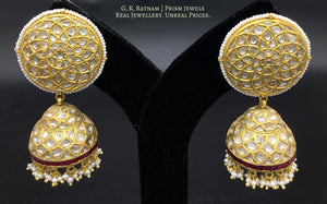 23k Gold and Diamond Polki Karanphool Jhumki Earring Pair with a rim of rubies - gold diamond polki kundan meena jadau jewellery