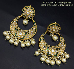 23k Gold and Diamond Polki Chand Bali Earring pair with emerald-green stones and shell pearls - gold diamond polki kundan meena jadau jewellery