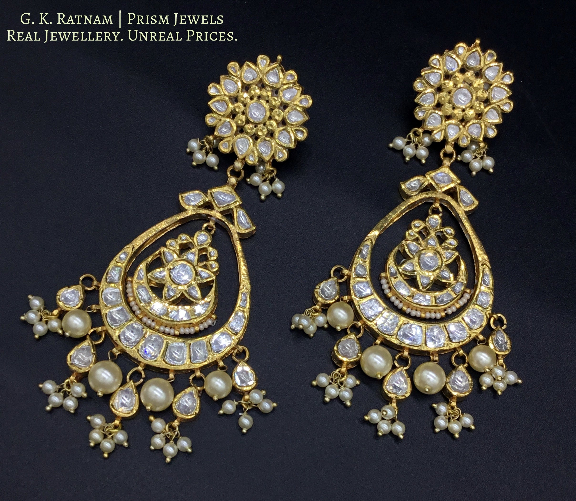 Traditional Gold and Diamond Polki Chand Bali Earring Pair with triple-coated shell pearls - gold diamond polki kundan meena jadau jewellery