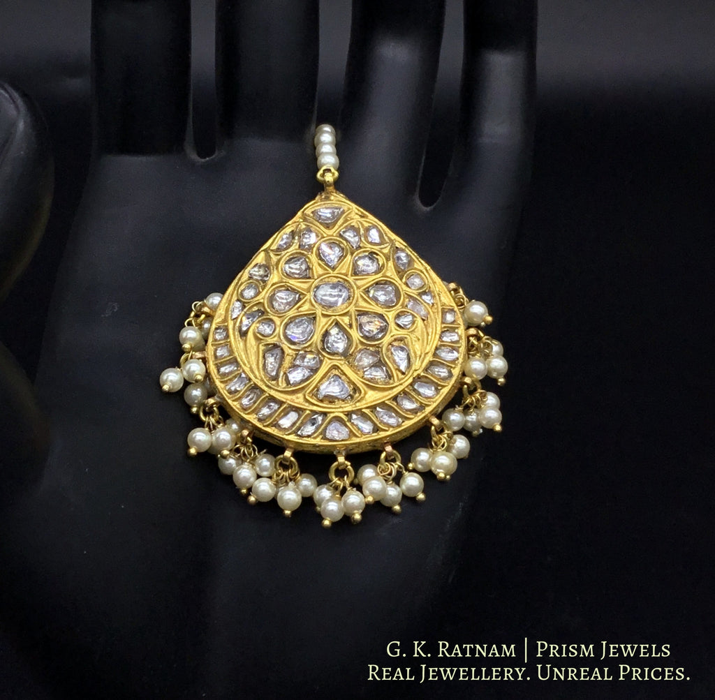 23k Gold and Diamond Polki Maang Tika with triple-coated shell pearls - gold diamond polki kundan meena jadau jewellery