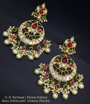 18k Gold and Diamond Polki Chand Bali Earring Pair with Ruby & Emerald grade color stones - gold diamond polki kundan meena jadau jewellery
