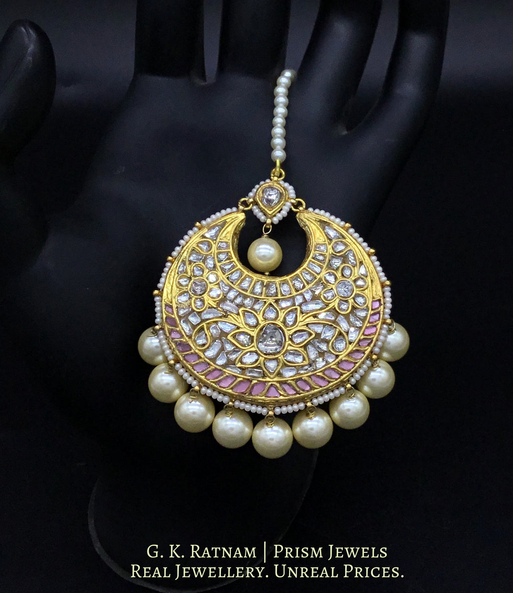 23k Gold and Diamond Polki Maang Tika embedded with baby pink stones - gold diamond polki kundan meena jadau jewellery