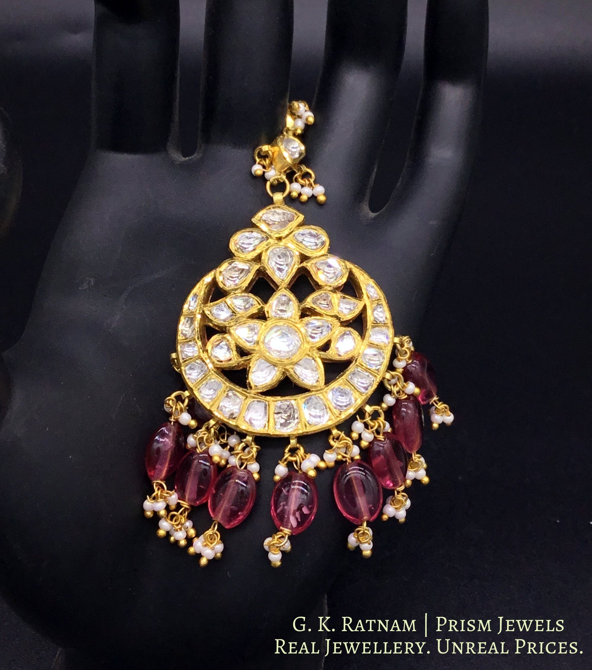 18k Gold and Diamond Polki Maang Tika with tourmaline-pink stones - gold diamond polki kundan meena jadau jewellery
