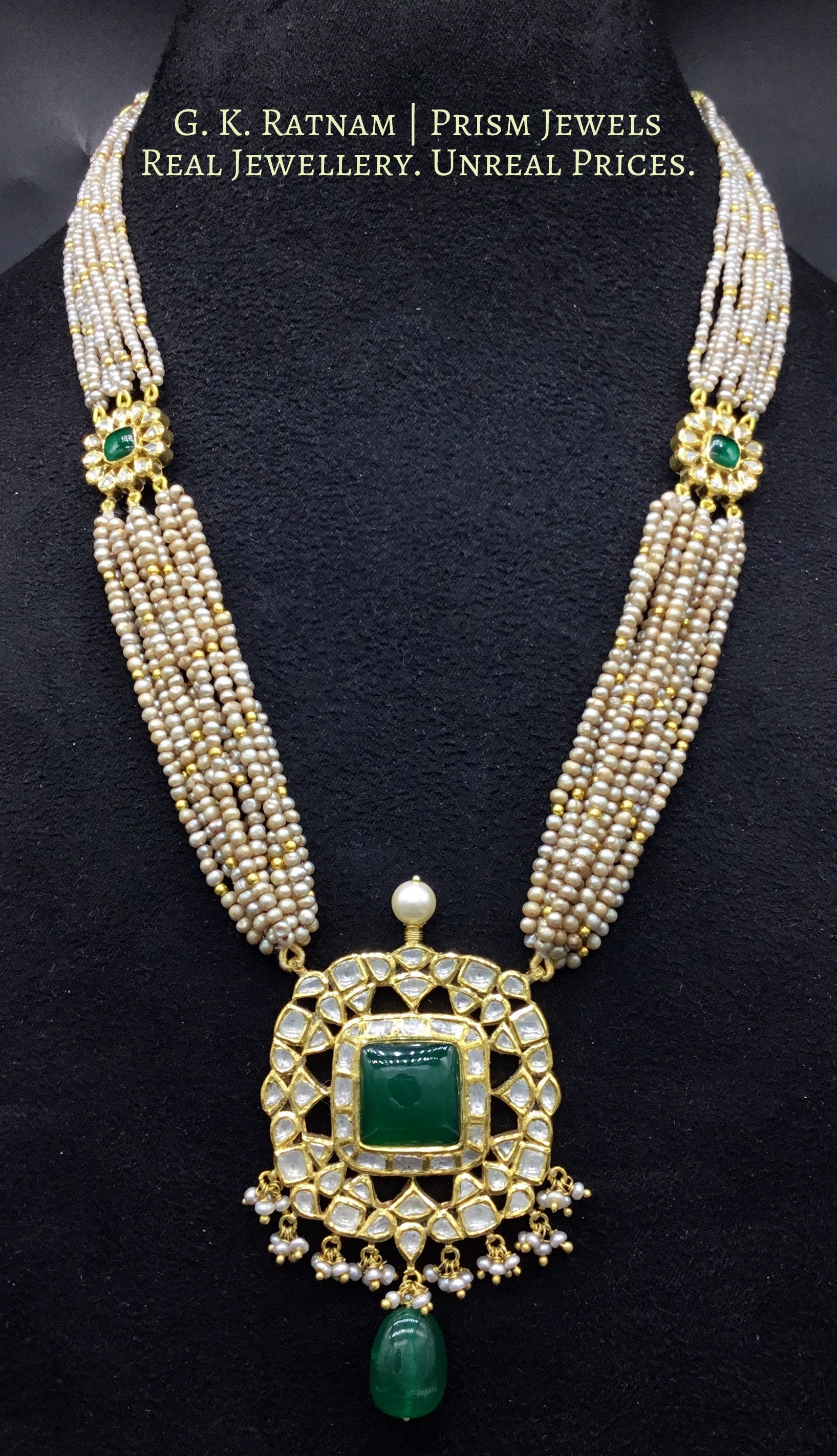 Traditional Gold and Diamond Polki Pendant strung with Antiqued Hyderabadi Pearls - gold diamond polki kundan meena jadau jewellery
