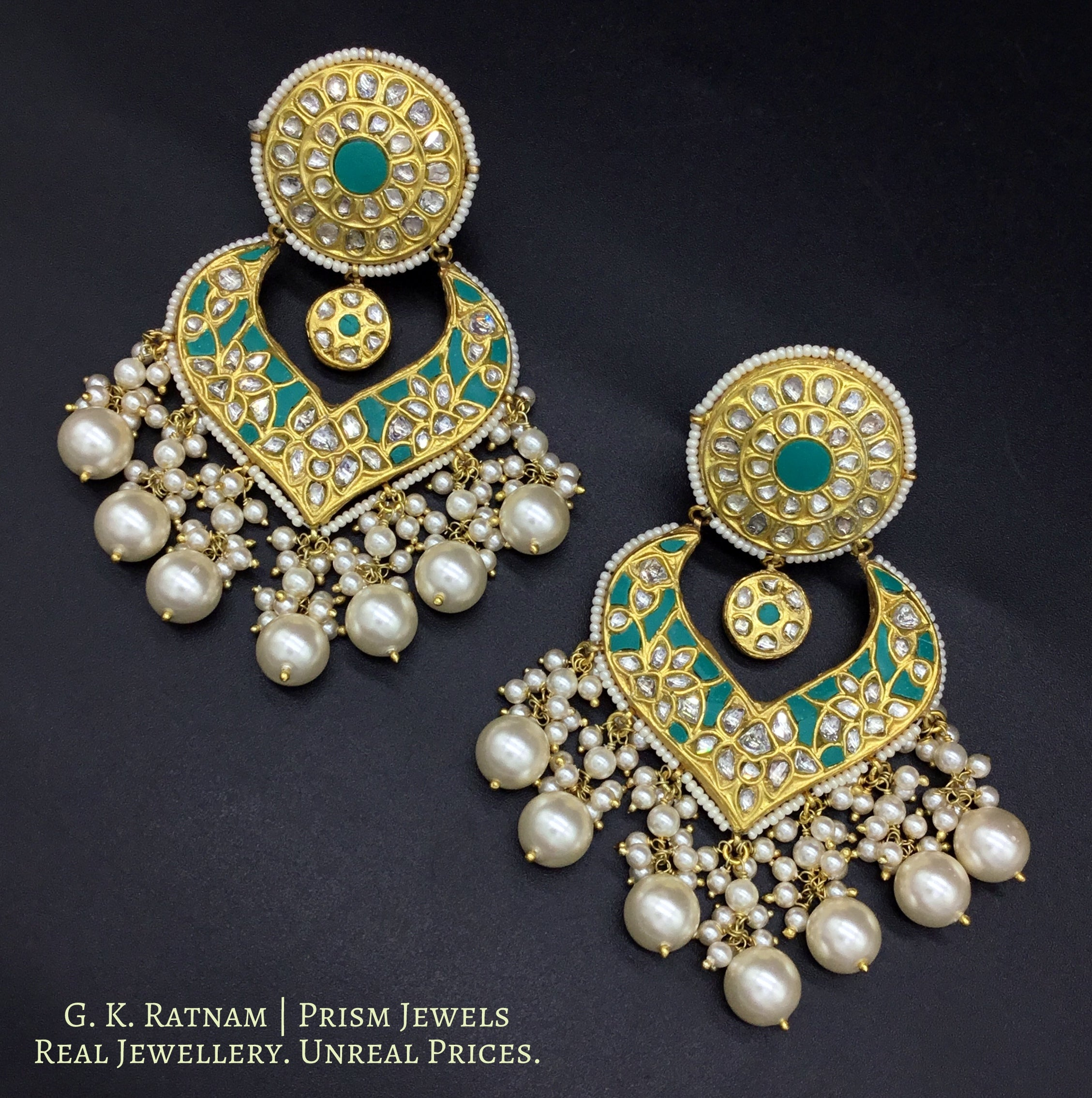 23k Gold and Diamond Polki Chand Bali Earring Pair with V-shaped firoza chand - gold diamond polki kundan meena jadau jewellery