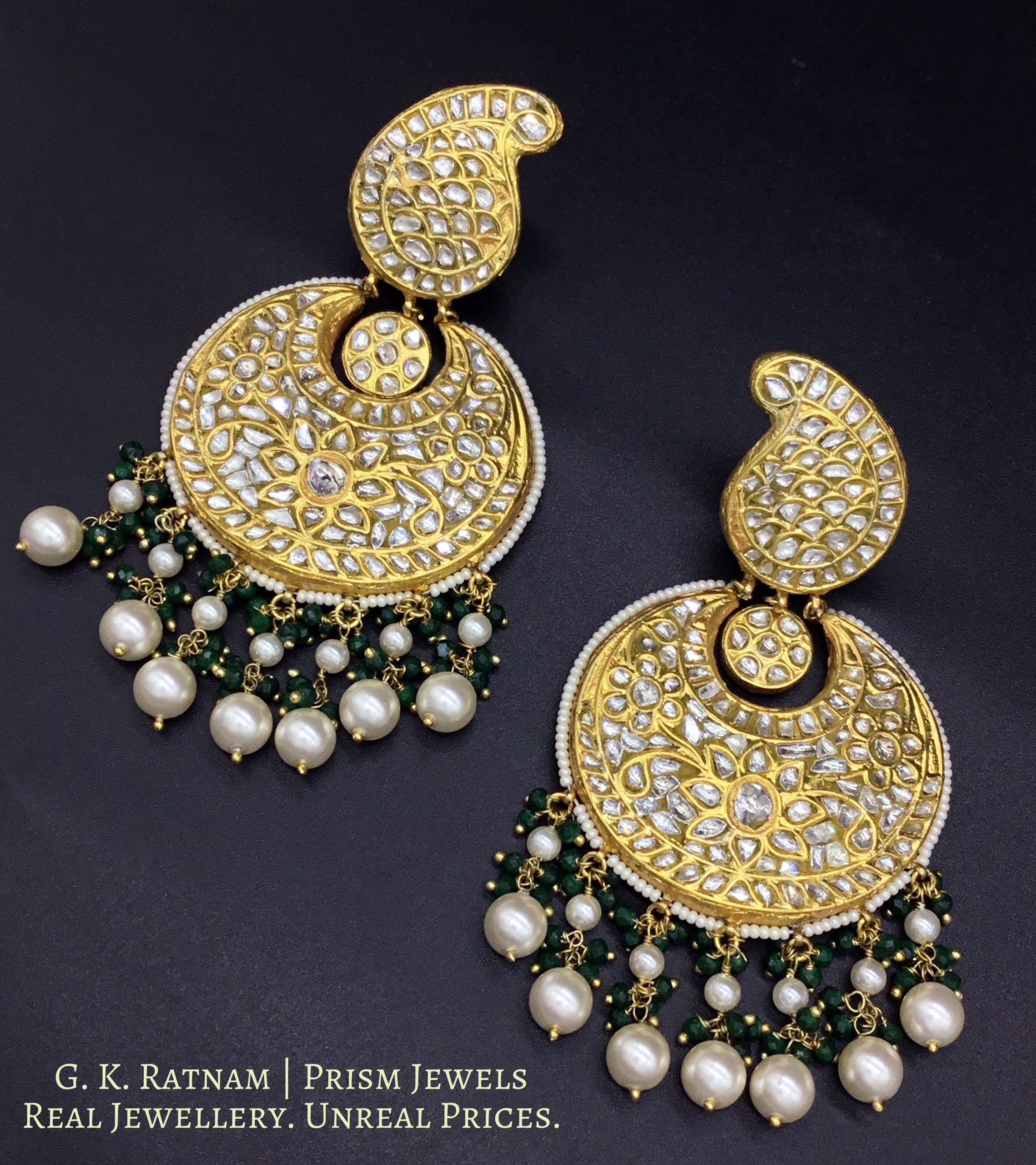 23k Gold and Diamond Polki Chand Bali Earring Pair with pearl chandeliers - gold diamond polki kundan meena jadau jewellery