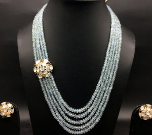 14k Gold and Diamond Polki Open Setting Broach Necklace Set with Aquamarine beads - gold diamond polki kundan meena jadau jewellery