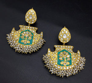 23k Gold and Diamond Polki Long Earring Pair with Turquoise stones and antiqued hyderabadi pearls - gold diamond polki kundan meena jadau jewellery