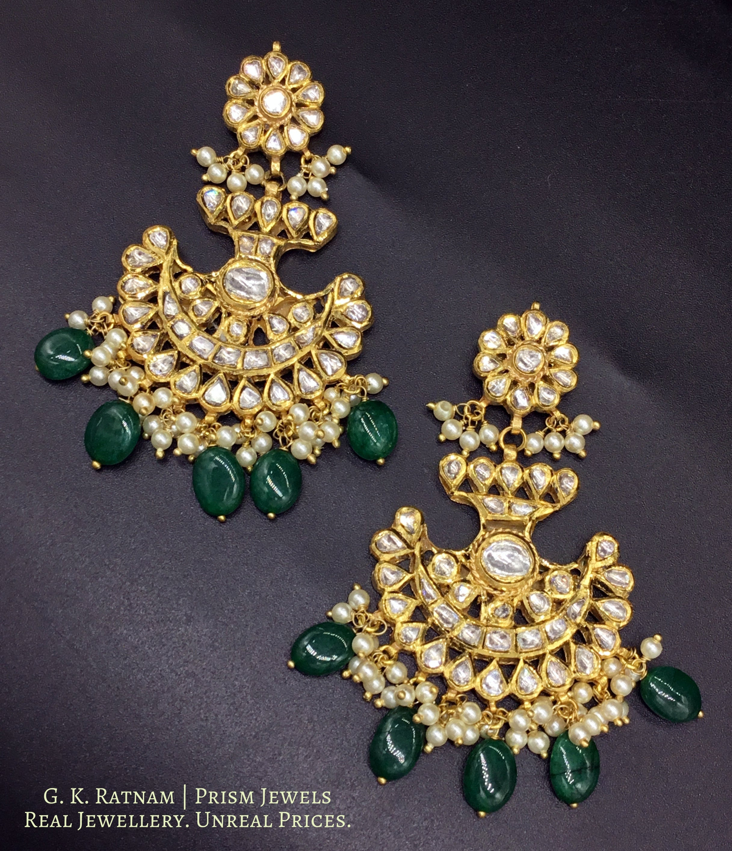 18k Gold and Diamond Polki Pankhi (fan) Pendant Set with beryl and pearl chains - gold diamond polki kundan meena jadau jewellery