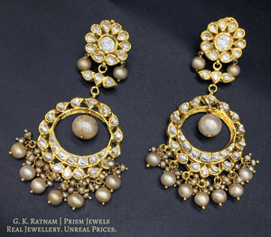 Traditional Gold and Diamond Polki Chand Bali Earring Pair with Antique Pearls - gold diamond polki kundan meena jadau jewellery