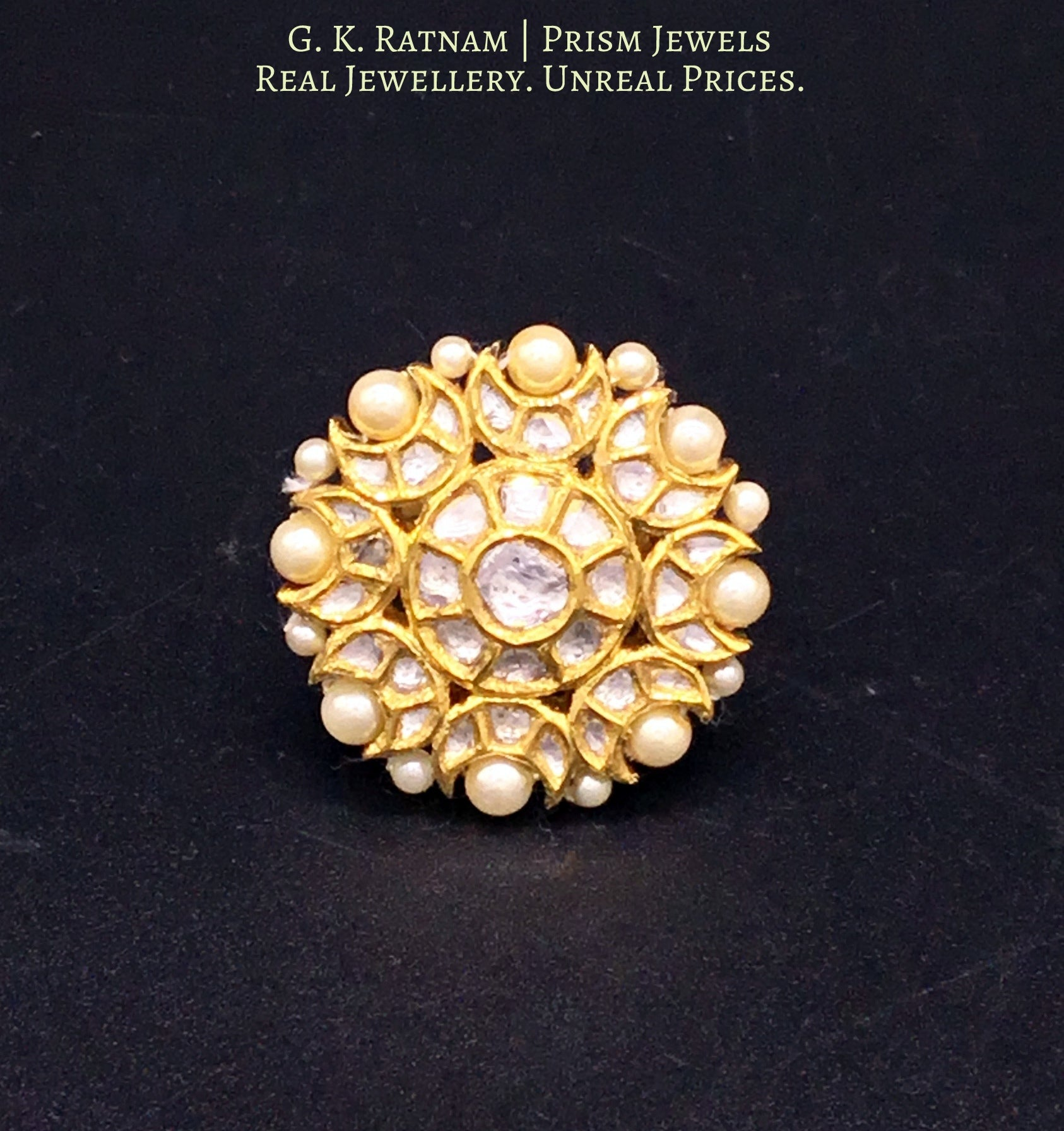 18k Gold and Diamond Polki Round Ring with Pearl Border - gold diamond polki kundan meena jadau jewellery
