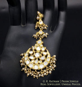 18k Gold and Diamond Polki Maang Tika strung in Antiqued Freshwater Pearls