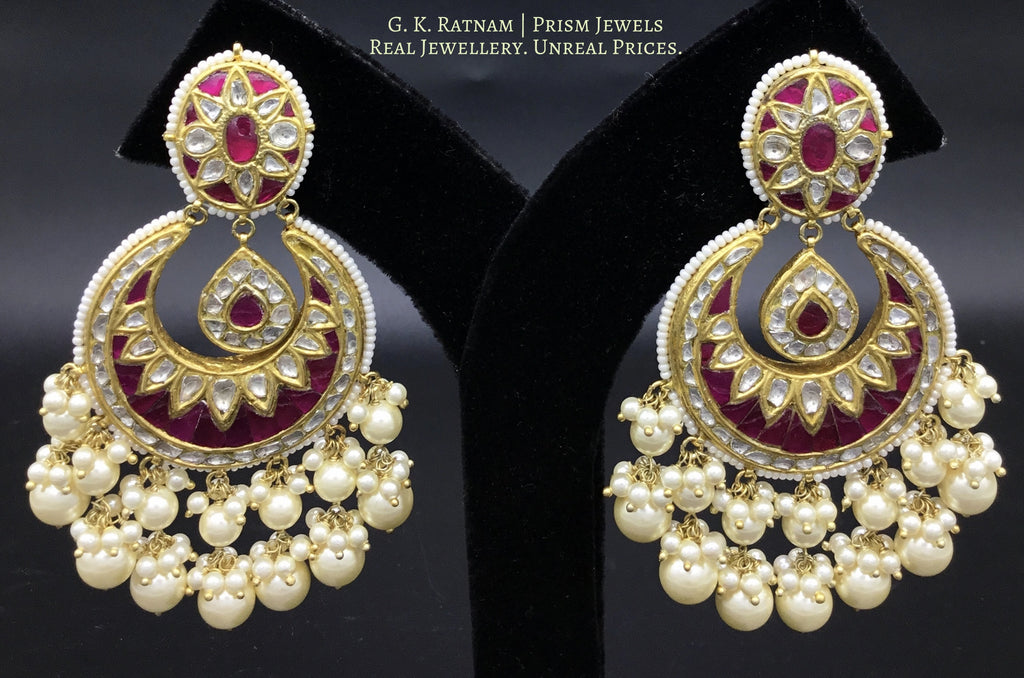 23k Gold and Diamond Polki Chand Bali Earring pair with Rubies - gold diamond polki kundan meena jadau jewellery