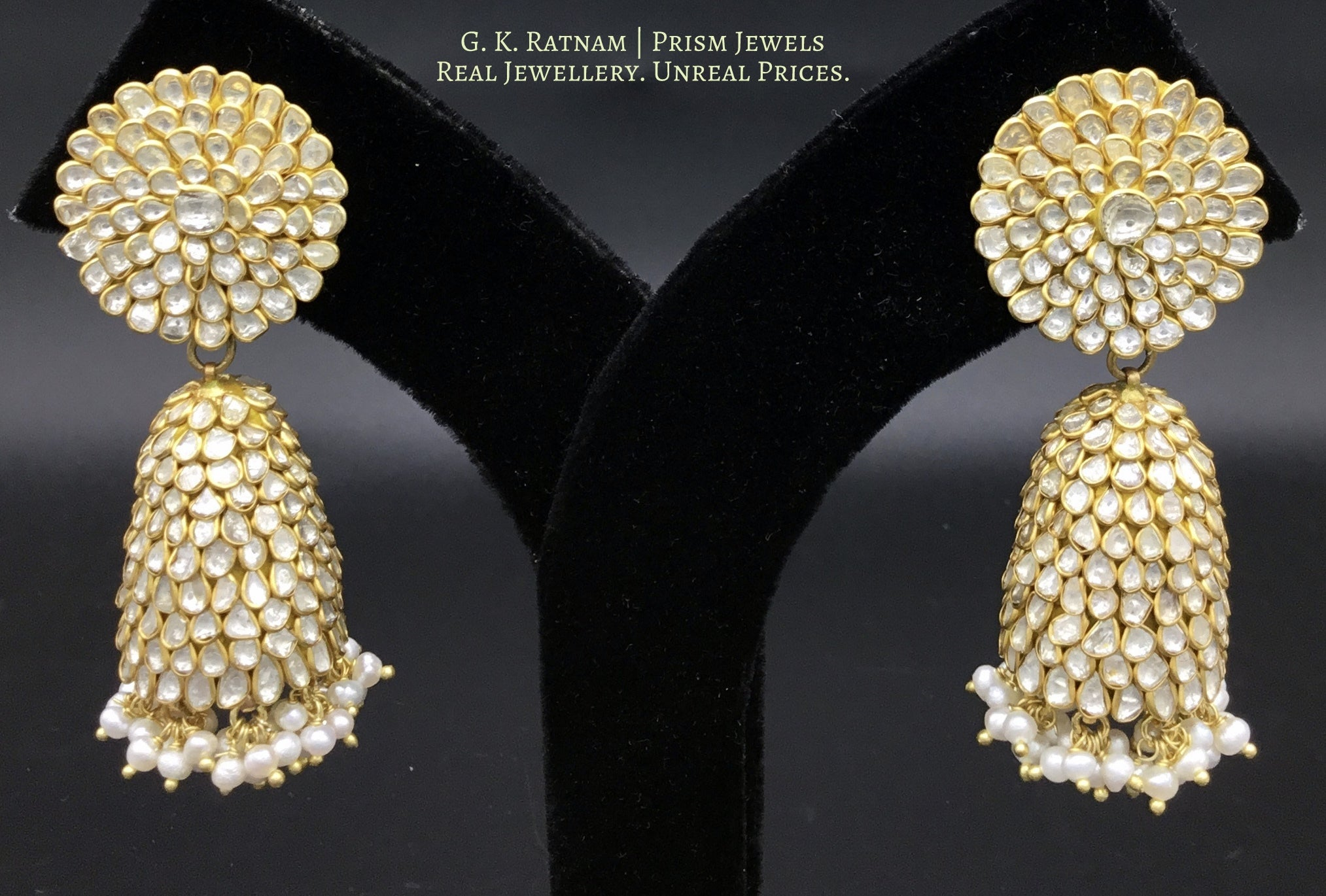 23k Gold and Diamond Polki Pacchi Jhumki Earring Pair with Pearls