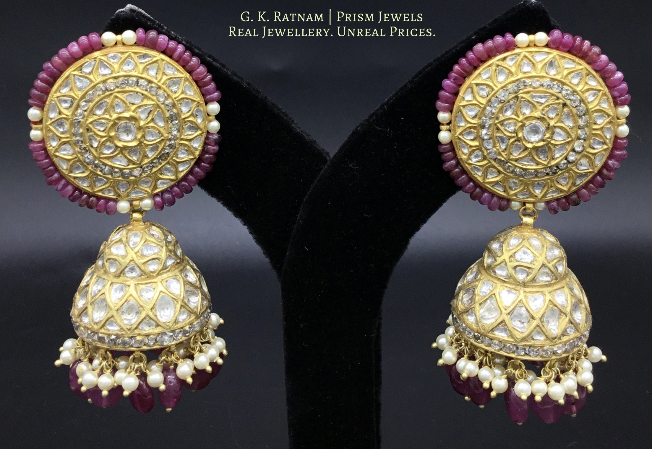 23k Gold and Diamond Polki Karanphool Jhumki Earring Pair with lustrous pink rubies and pearls - gold diamond polki kundan meena jadau jewellery