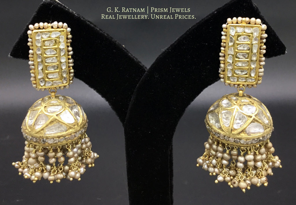 23k Gold and Diamond Polki stick-shaped tops and Jhumki Earring Pair with antiqued hydereabadi pearls - gold diamond polki kundan meena jadau jewellery