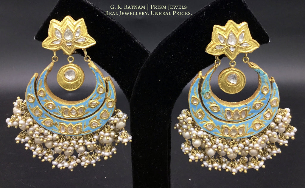 23k Gold and Diamond Polki Reversible Chand Bali Earring Pair with intricate enamelling - gold diamond polki kundan meena jadau jewellery