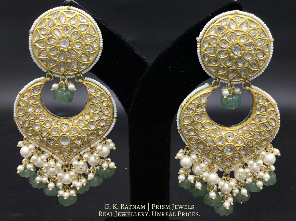 23k Gold and Diamond Polki Chand Bali Earring Pair with Aventurine Melons - gold diamond polki kundan meena jadau jewellery