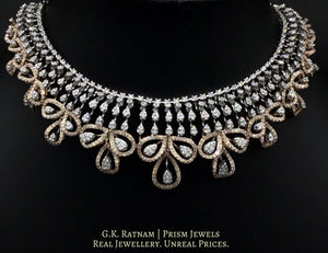 14k Gold and Diamond Necklace Set with a blend of rose and white gold - gold diamond polki kundan meena jadau jewellery