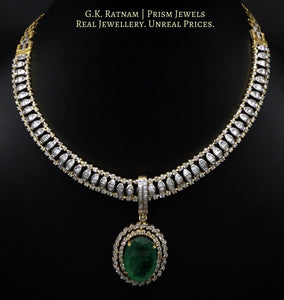 14k Gold and Diamond U-shaped Necklace Set with an oval emerald-grade hanging - gold diamond polki kundan meena jadau jewellery